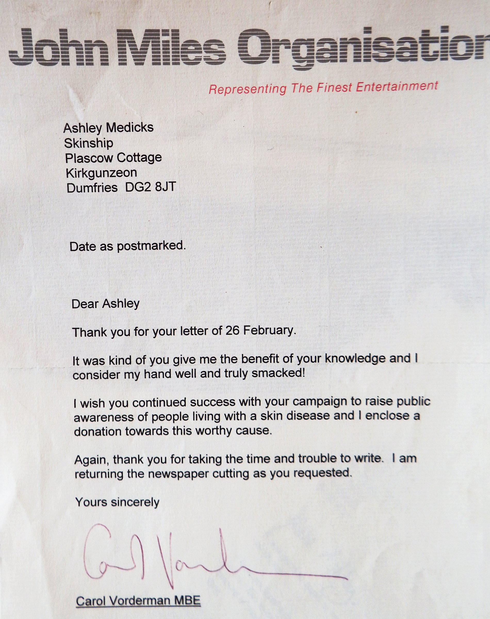 view the skinship archives letter from carol vorderman donation letter